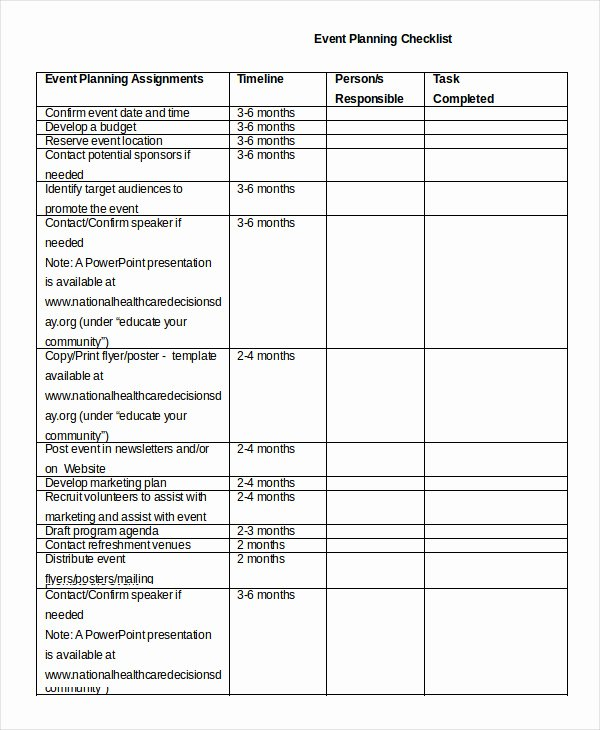 Party Planning List Template Unique event Planning Checklist 16 Free Word Pdf Documents