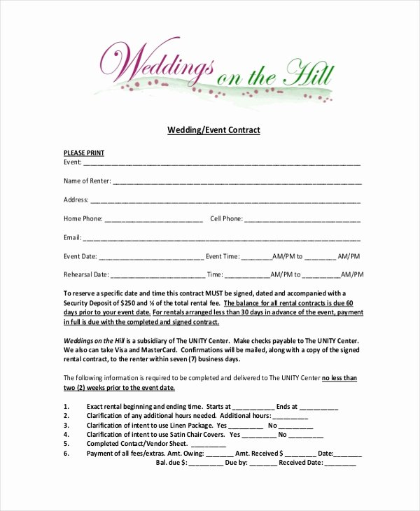 Party Rental Agreement Template Best Of Free 10 Sample event Contract forms In Word