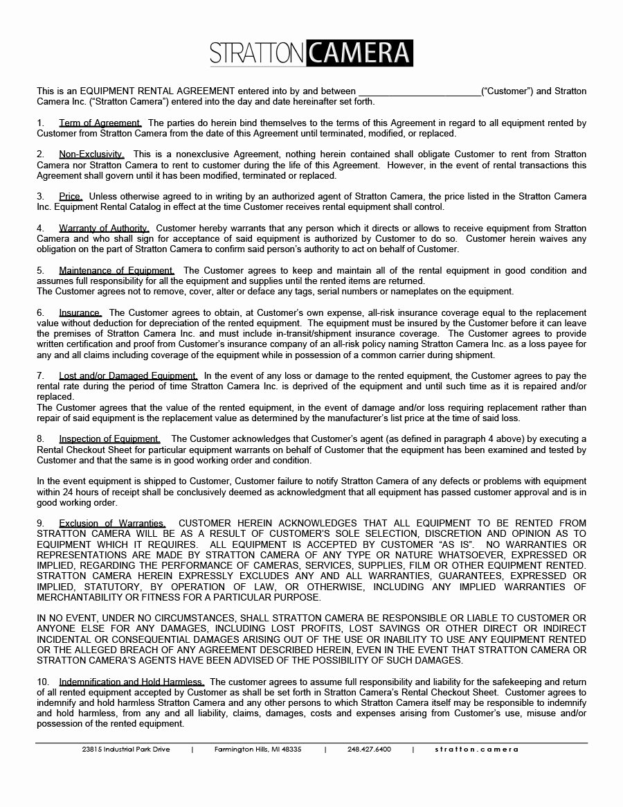 Party Rental Agreement Template Elegant 44 Simple Equipment Lease Agreement Templates Template Lab