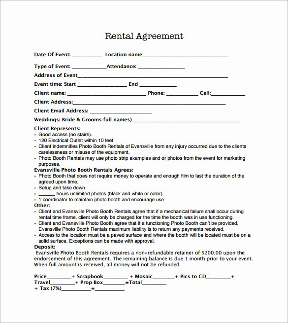 Party Rental Agreement Template Elegant Sample Booth Rental Agreement 14 Documents In Pdf Word