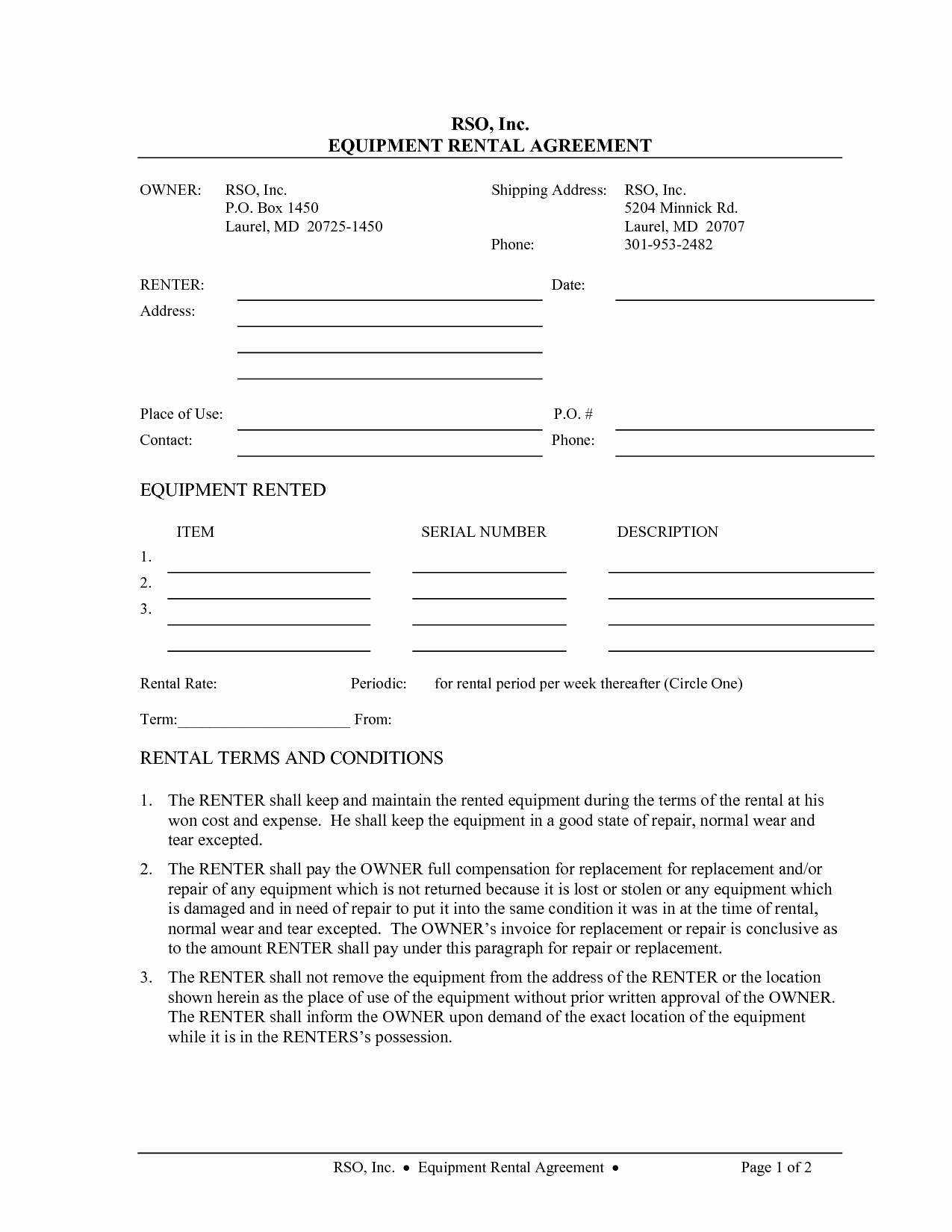 Party Rental Agreement Template New Equipment Rental Contract Template