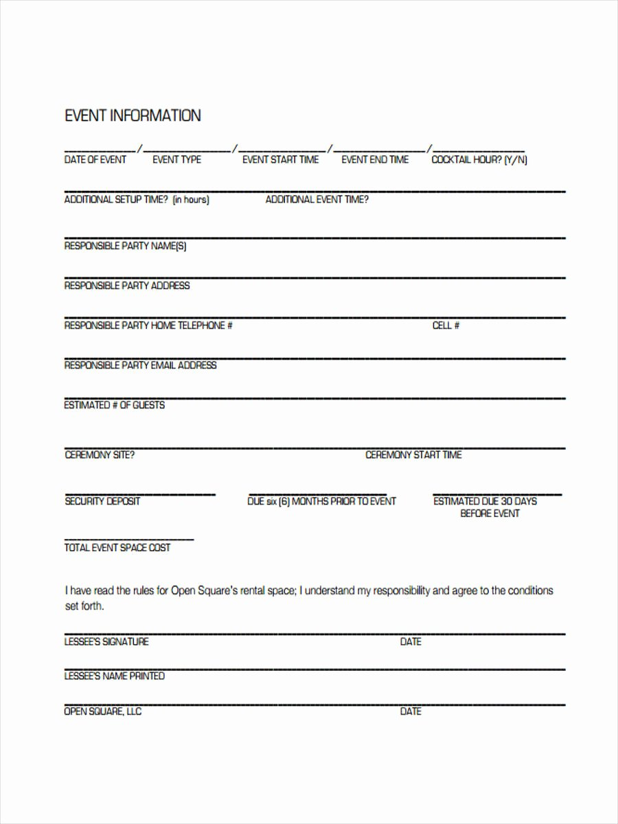Party Rental Agreement Template New Free 8 event Agreement forms In Sample Example format