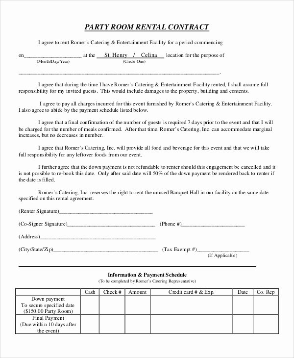 Party Rental Agreement Template Unique Tent Rental Agreement forms