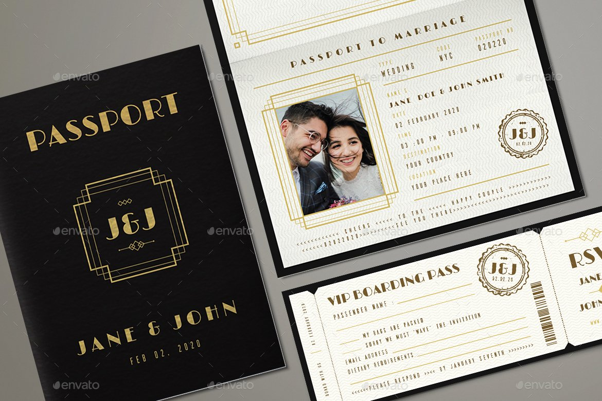 Passport Invitation Template Photoshop Awesome Art Deco Passport Wedding Invitation by Vector Vactory