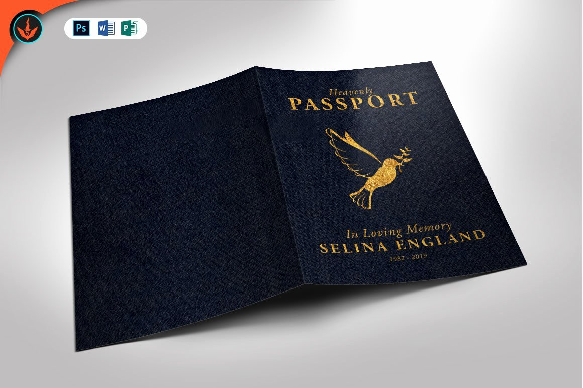 Passport Invitation Template Photoshop Awesome Passport Funeral Program Template Brochure Templates