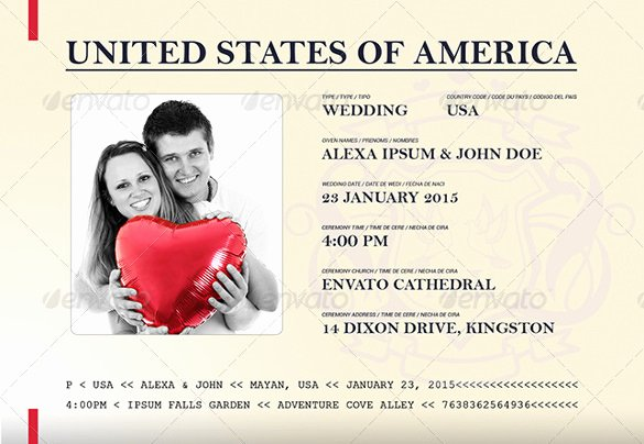 Passport Invitation Template Photoshop Beautiful 17 Passport Invitation Templates Free Sample Example