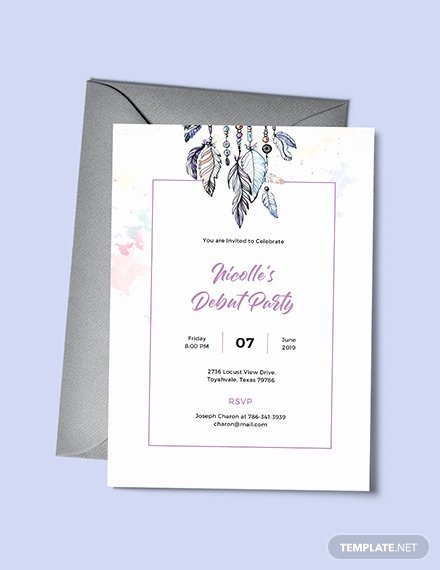 Passport Invitation Template Photoshop Beautiful Free Boho Debut Invitation Template Download 344