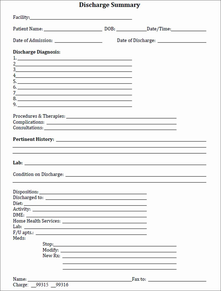 Patient Discharge form Template Beautiful 6 Discharge Summary Template Free Pdf Word Excel formats