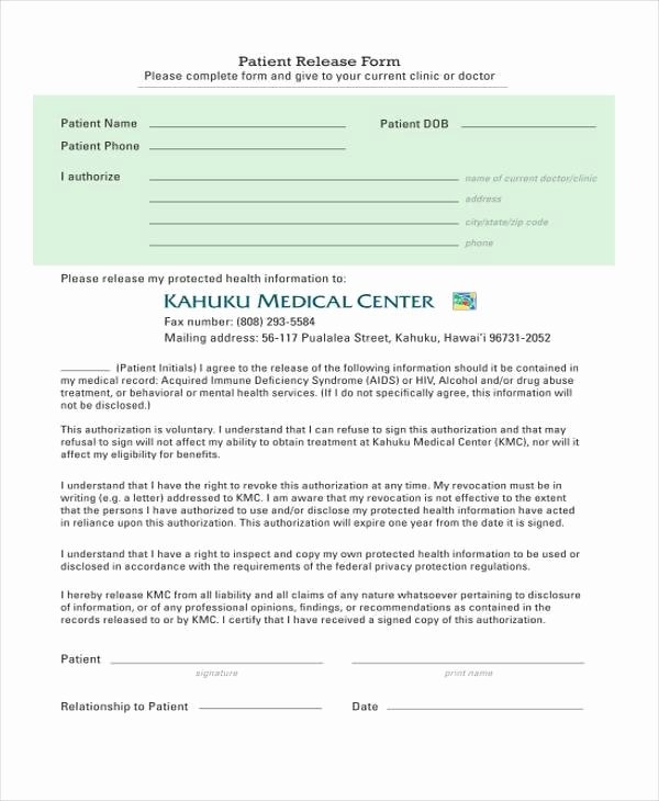 Patient Discharge form Template Best Of Free 9 Hospital Release form Samples In Sample Example