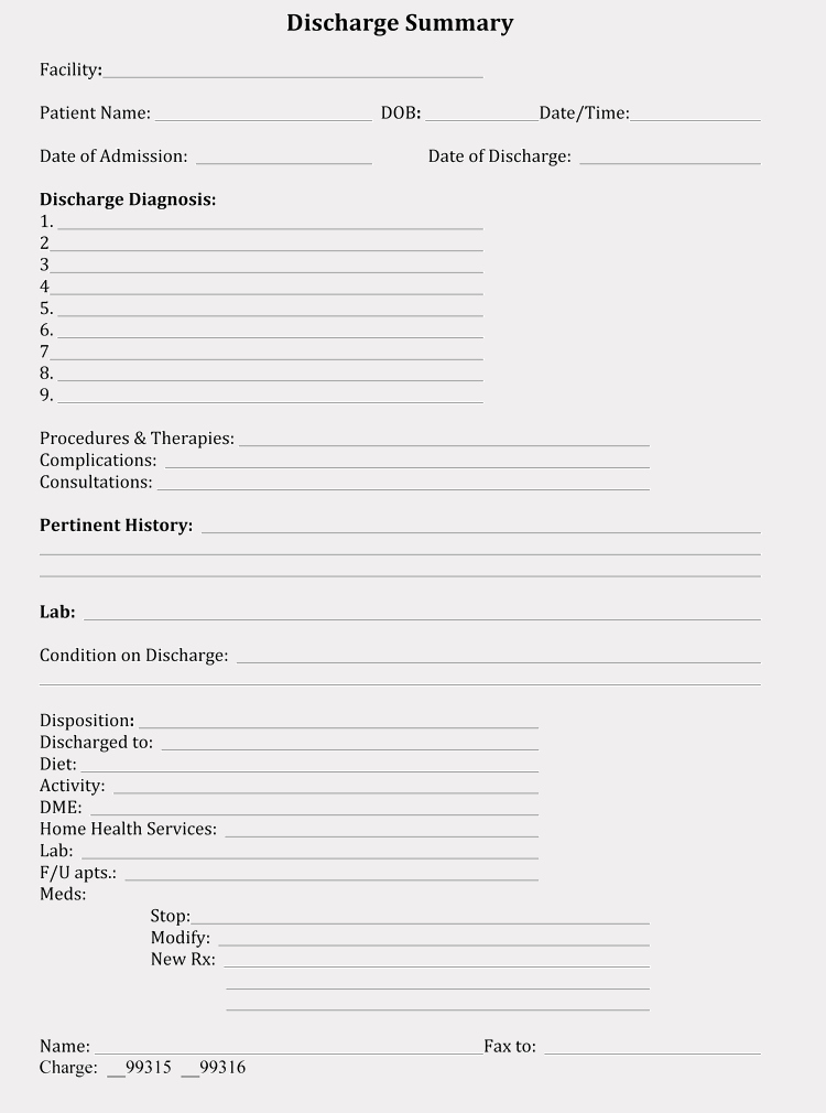 Patient Discharge form Template Elegant 11 Free Discharge Summary forms In General format