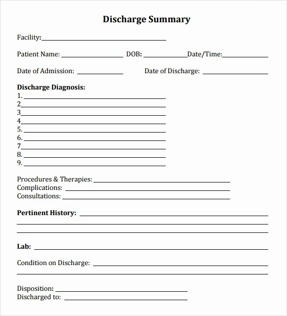 Patient Discharge form Template Elegant Free 7 Sample Discharge Summary Templates In Pdf