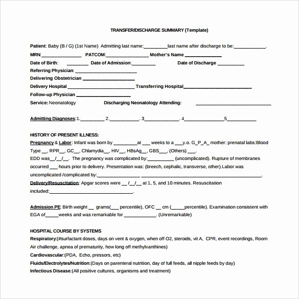 Patient Discharge form Template Elegant Sample Discharge Summary 10 Documents In Pdf Word