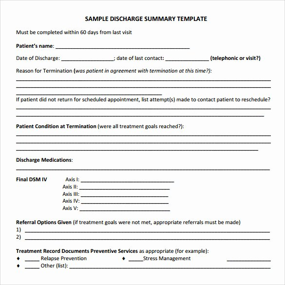 Patient Discharge form Template New Discharge Summary Template 11 Free Samples Examples