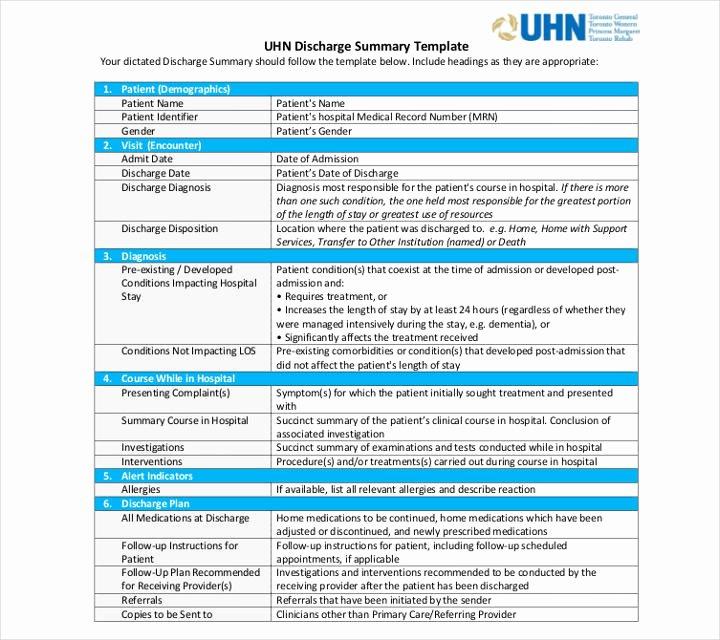 Patient Discharge form Template Unique 9 Discharge Summary Templates Pdf Doc
