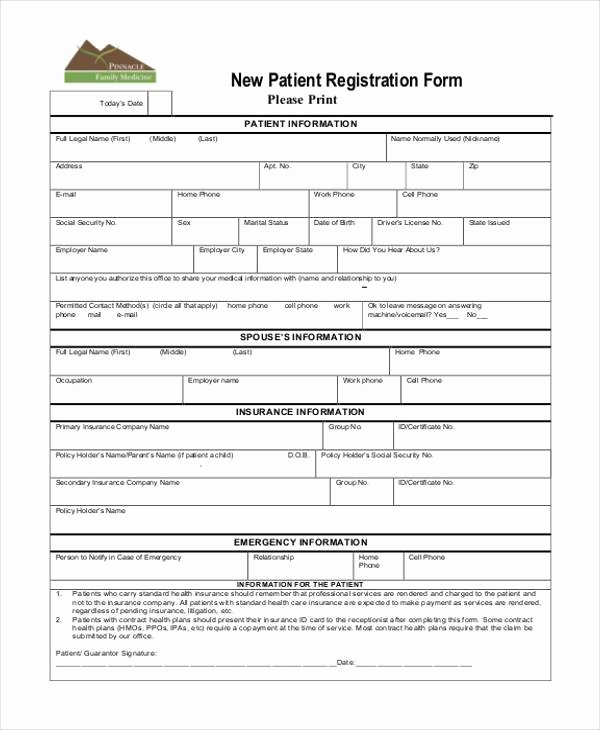 Patient Information Sheet Template Elegant Free 38 Registration form Templates
