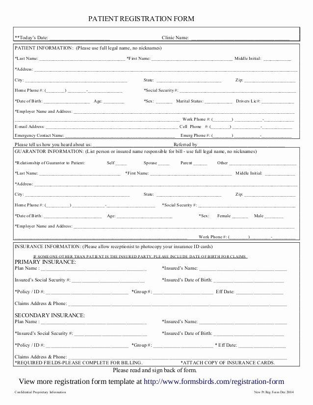 Patient Information Sheet Template Inspirational Registration form Template