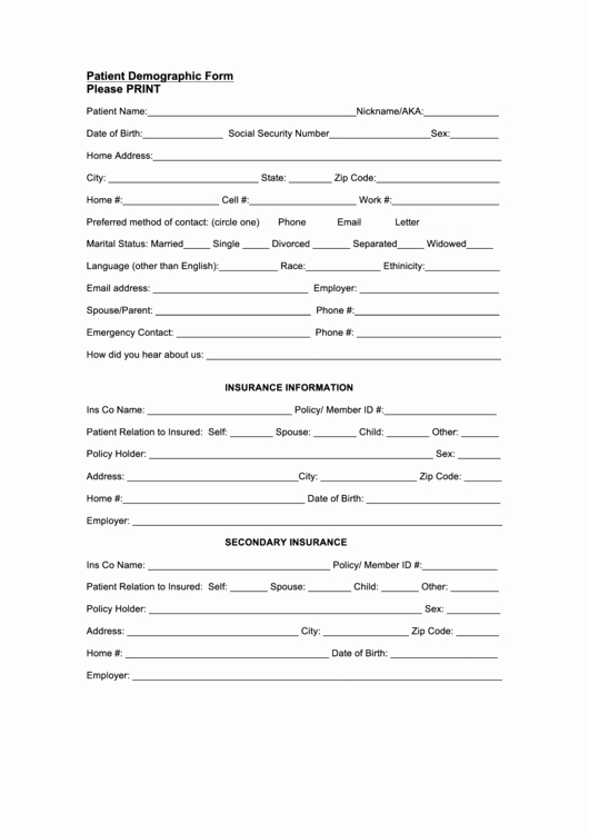 Patient Information Sheet Template Lovely Patient Demographic form Printable Pdf