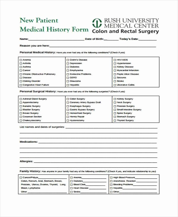 Patient Medical History form Template Awesome Free 35 Medical form In Templates
