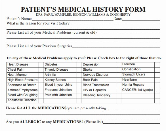 Patient Medical History form Template Beautiful 14 Medical History forms Free Sample Example format