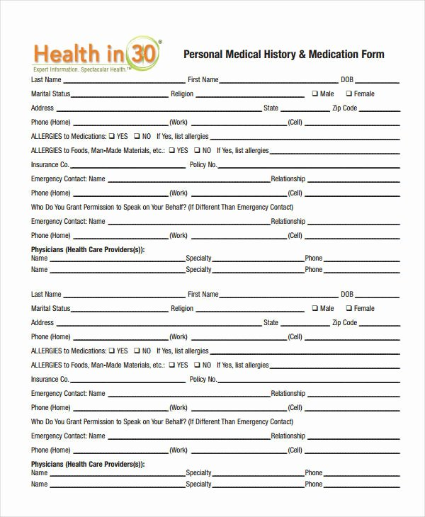 Patient Medical History form Template Fresh Medical History form 9 Free Pdf Documents Download