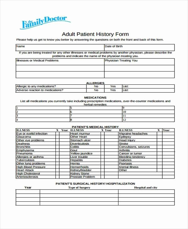Patient Medical History form Template Inspirational Free 35 Medical form In Templates