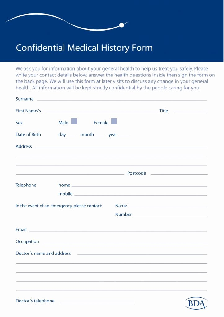Patient Medical History form Template Luxury 67 Medical History forms [word Pdf] Printable Templates