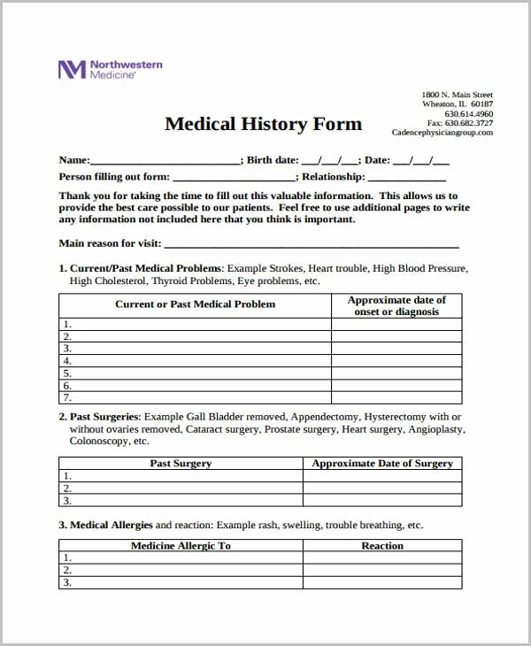 Patient Medical History form Template Luxury Free 35 Medical form In Templates