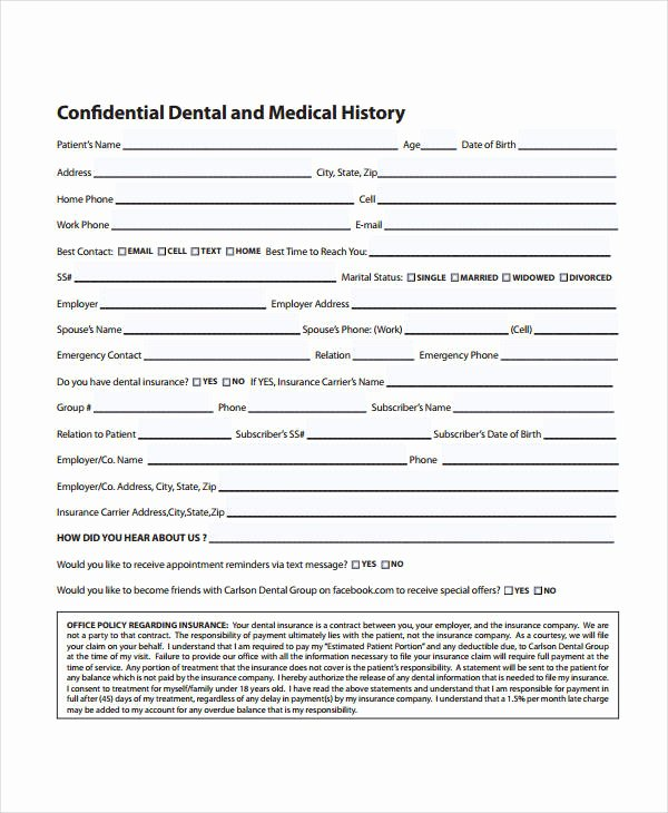 Patient Medical History form Template Luxury Medical History form 9 Free Pdf Documents Download