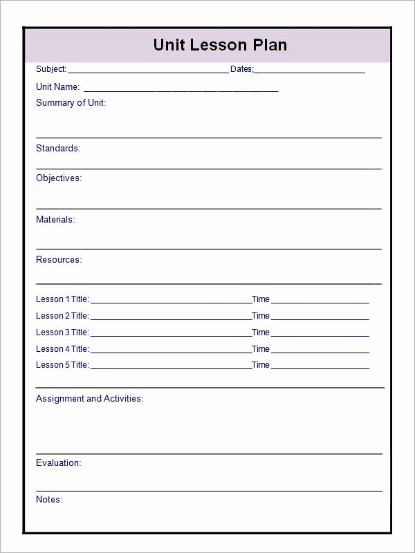 Pe Lesson Plan Template Blank Awesome 12 Sample Unit Plan Templates to Download for Free