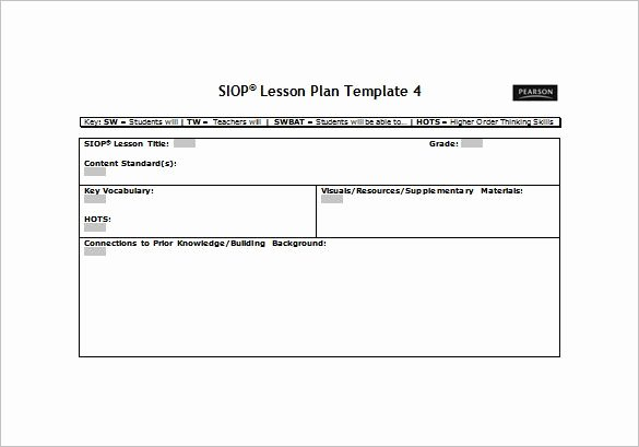 Pe Lesson Plan Template Blank Elegant Siop Lesson Plan Template Free Word Pdf Documents