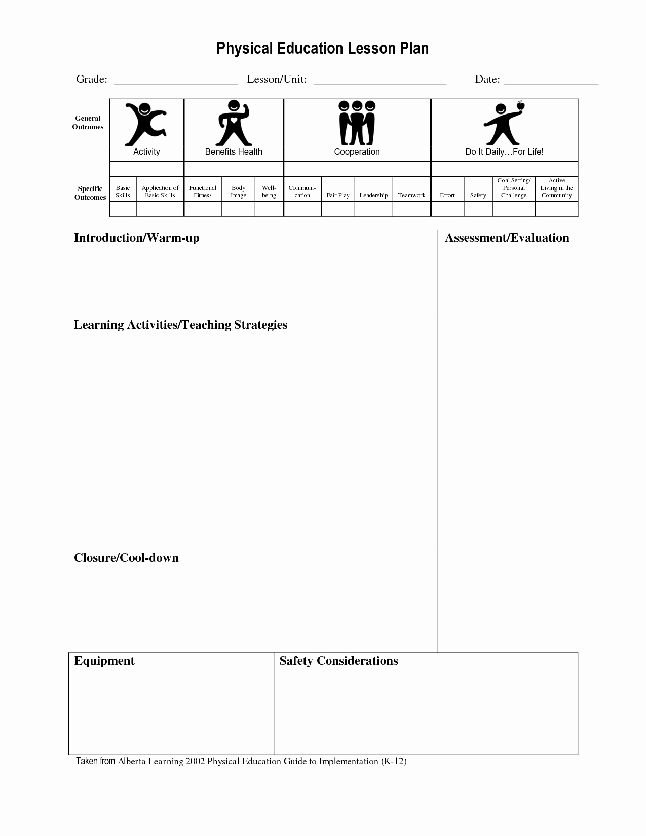 Pe Lesson Plan Template Blank Fresh Best S Of Physical Education Unit Plan Template Pe