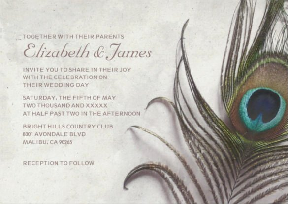 Peacock Invitations Template Free Awesome 23 Peacock Wedding Invitation Templates – Free Sample