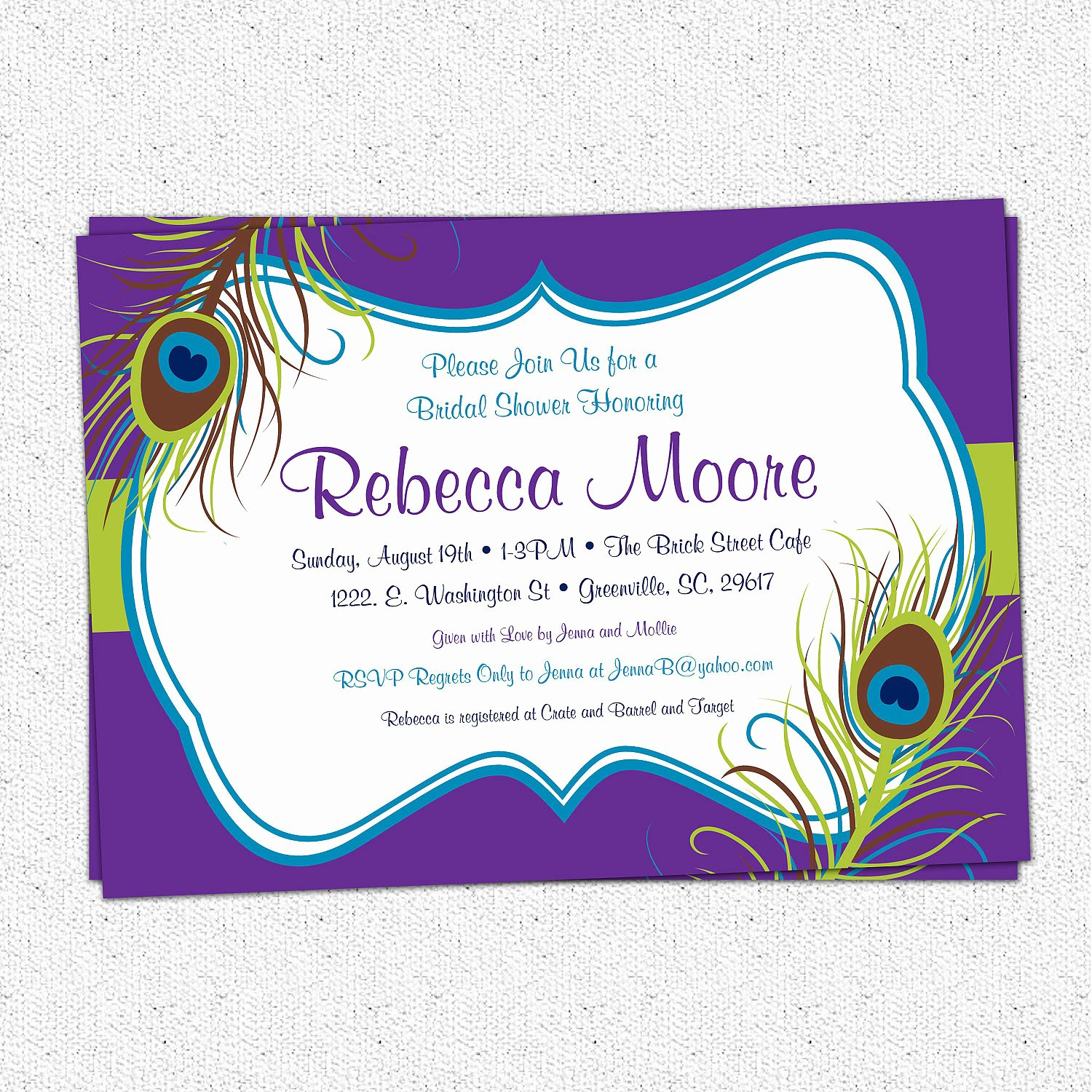 Peacock Invitations Template Free Awesome Peacock Feather Invitation Printable Bridal Shower Baby