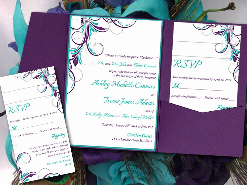 Peacock Invitations Template Free Best Of Peacock Pocketfold Wedding Invitation Template Set Teal