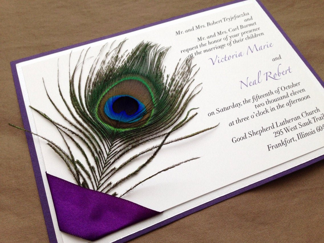 Peacock Invitations Template Free Best Of Quenisha Peacock Feather Wedding Invitation