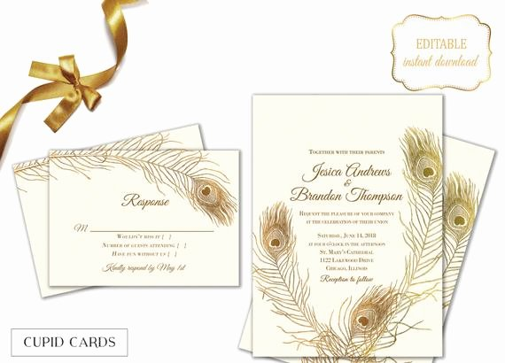 Peacock Invitations Template Free Fresh Peacock Feather Wedding Invitation Templates Editable