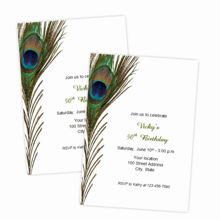Peacock Invitations Template Free Inspirational Peacock Feather Birthday Invitations Bridal Shower Wedding