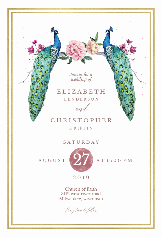 Peacock Invitations Template Free Inspirational Peacocks In Love Wedding Invitation Template Free