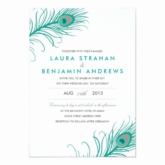 Peacock Invitations Template Free Lovely Elegant Peacock Wedding Invitation