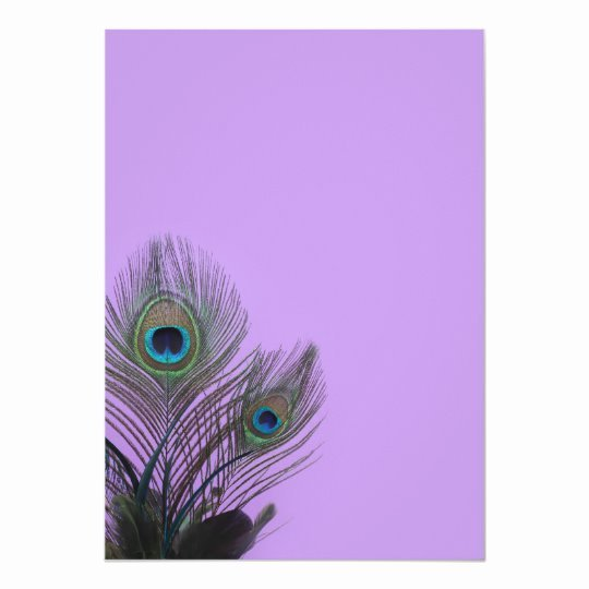 Peacock Invitations Template Free New Elegant Peacock Blank Invitation Purple