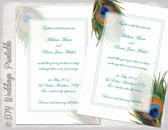 Peacock Invitations Template Free New Peacock Wedding Invitation Template Wedding Invitations