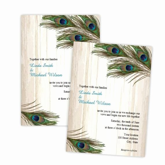 Peacock Invitations Template Free New Wedding Invitation Peacock Feathers On Wood Diy Printable