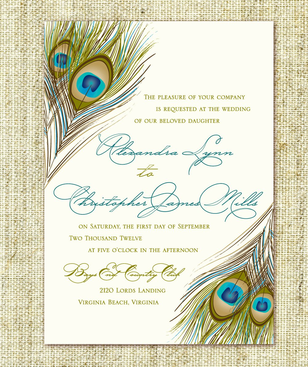 Peacock Invitations Template Free Unique Wedding Invitation Peacock Feather Script Pocket by
