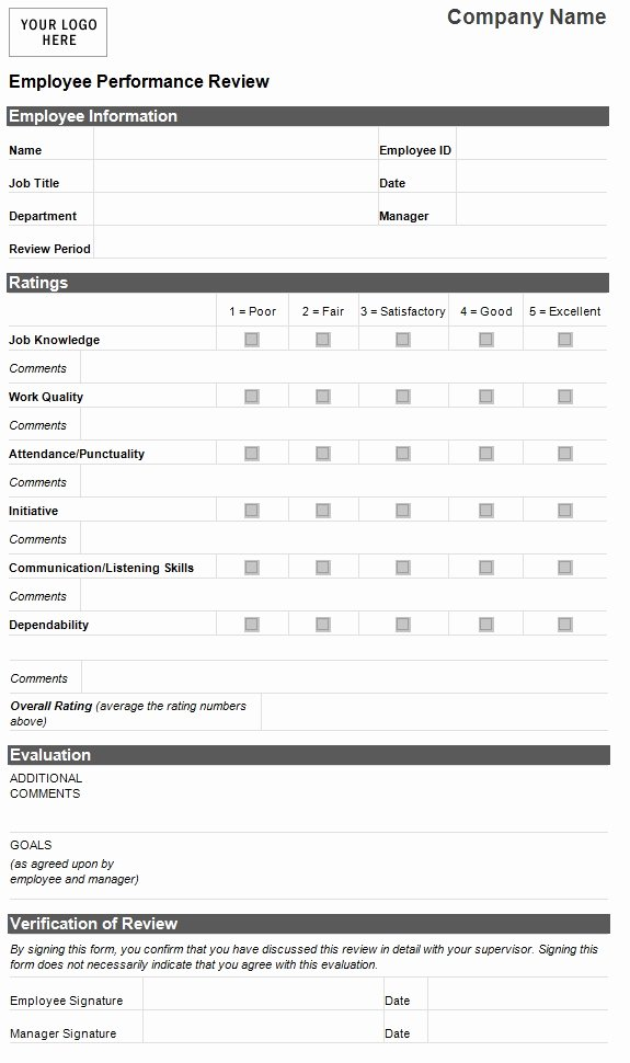Performance Evaluation form Template Beautiful Employee Performance Evaluation form Hr Management for