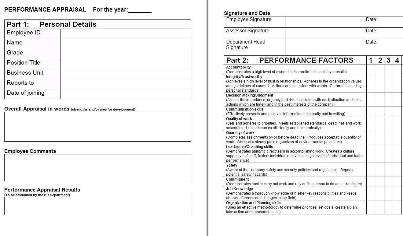 Performance Evaluation form Template Best Of Performance Appraisal form Template