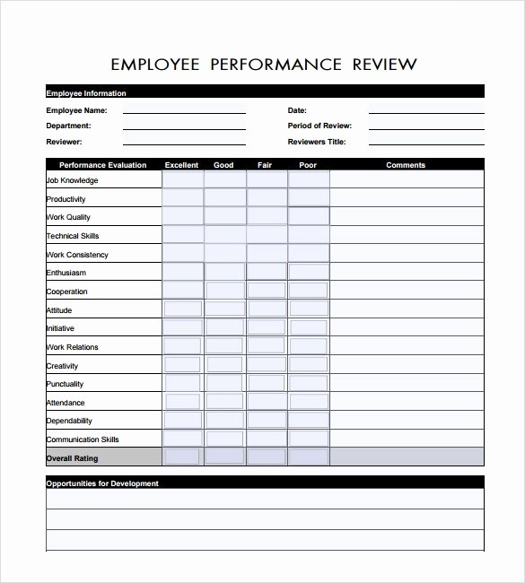 Performance Evaluation form Template Elegant 7 Employee Review Templates Pdf Doc