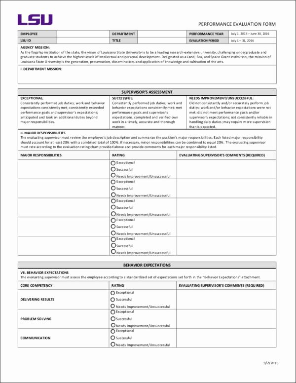Performance Evaluation form Template New Employee Performance Evaluation Goals 10 Samples and