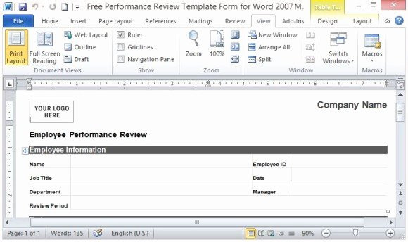 Performance Evaluation Template Word Best Of Free Performance Review Template form for Word 2007