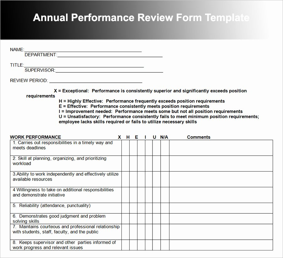 Performance Evaluation Template Word Elegant Employee Performance Review Template