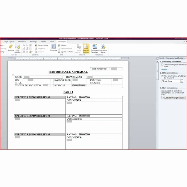 Performance Evaluation Template Word Elegant Free Downloadable Performance Appraisal form